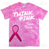 Think Pink - Team Name - Tie Dye Ribbon Design