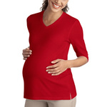 Ladies Silk Touch™ Maternity 3/4 Sleeve V Neck Shirt