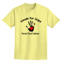 Church Fundraiser with hand print and heart t-shirt design Thumbnail