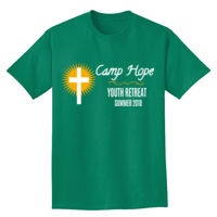 Church Retreat Camp with sun and cross t-shirt design Thumbnail