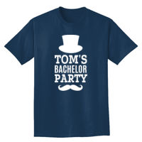 Bachelor Party with top hat and mustache t-shirt Thumbnail