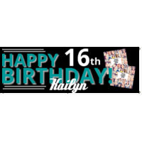 Happy 16th Birthday banner with pictures Thumbnail