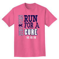 Run For A Cure Breast Cancer Survivor T-shirt Design Thumbnail